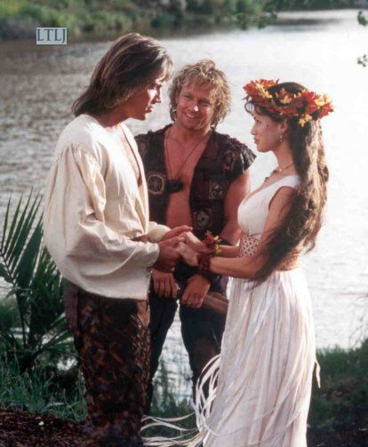 Hercules (Kevin Sorbo), Iolaus (Michael Hurst), and Serena ...
