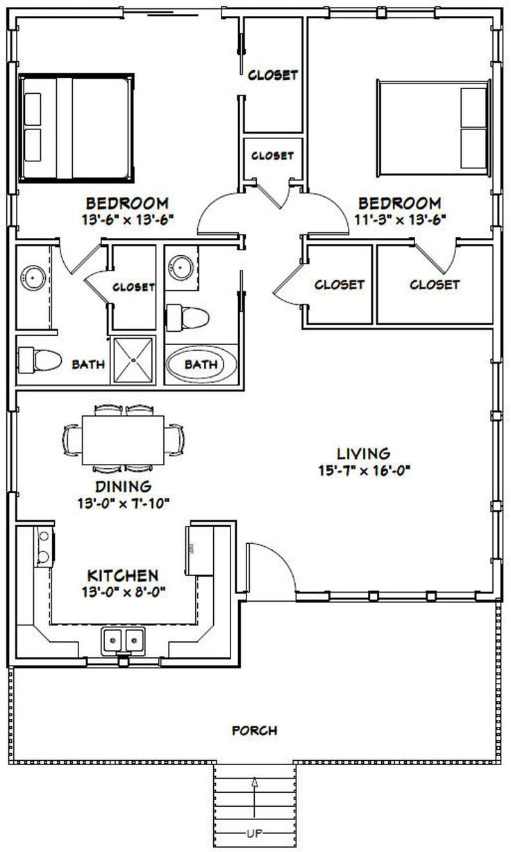 30x40 House 2Bedroom 2Bath 1136 sq ft PDF Floor Etsy