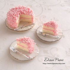 Pink Coconut Cake - Dollhouse Miniature Food Pinner says: Really well done decoration but it'd be better if they'd textured the inside of the cake.