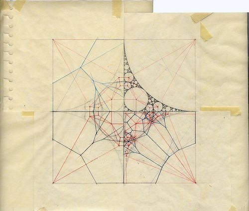 'RC V-D_s', by sevensixfive sketchbook (Flickr ske765book), 2009. Circles created by the construction of a Delaunay triangulation and a Voronoi diagram (?)