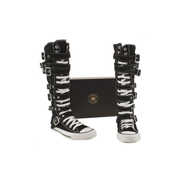 32fa97fe057 Vegan knee high converse boots with buckles and straps Vegan Shoe... ❤  liked on Polyvore featuring shoes
