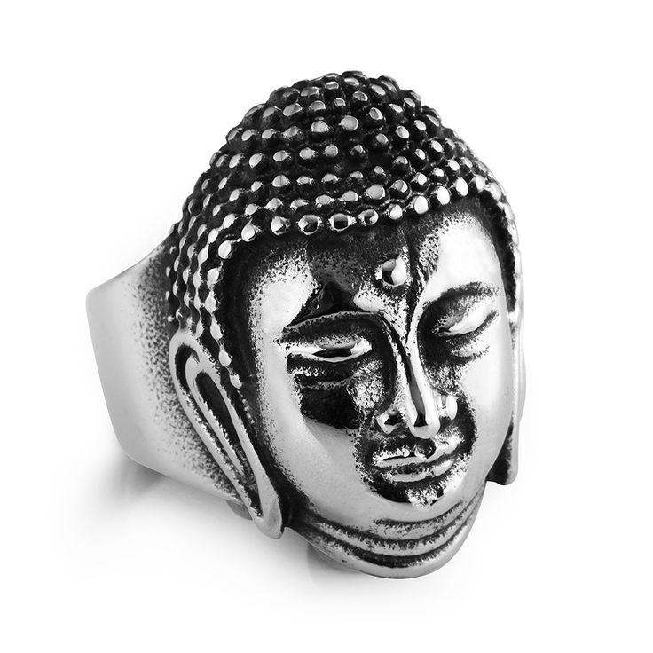 New top quality titanium acciaio anelli di barretta buddha benedica punk style in acciaio inossidabile 316l per gli uomini anello gioielli festa di compleanno
