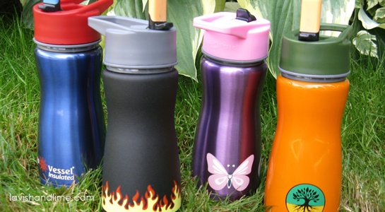 Insulated with a chew-resistant flip top straw, these BPA-free water bottles made of top quality stainless steel come in a variety of colours and graphic designs kids love! www.lavishandlime.com/Eco-Vessel-Blue-Insulated-Kids-Water-Bottle-flip-straw-steel-p-1520.html#
