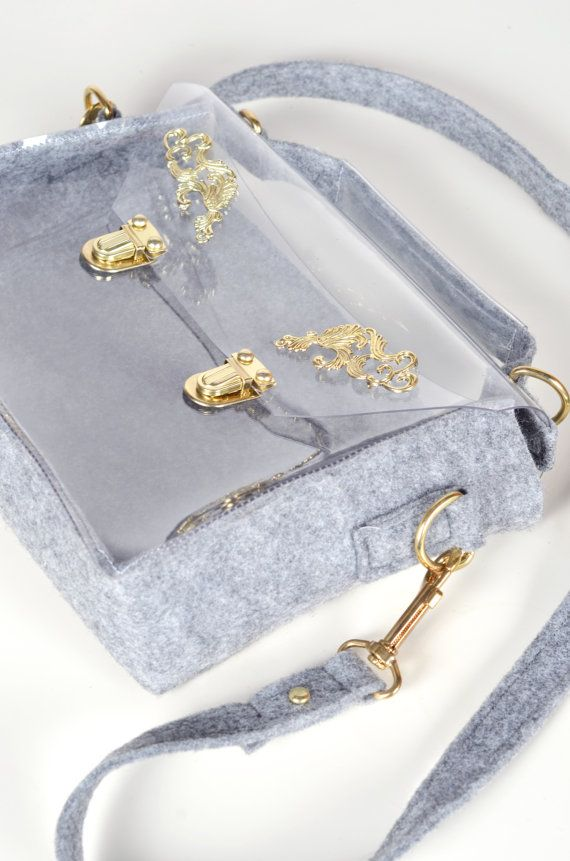 Transparent clear purse felt messenger bag satchel by YPSILONBAGS