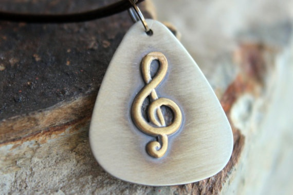 Treble Clef Musical Note Charm on Guitar Pick Necklace