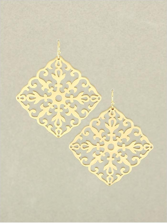 "Gold Taylor Earrings  2"" Long  Quantity: 3  $13.00"