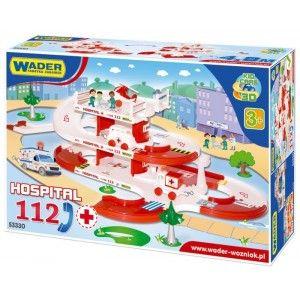 """Wader 53330 - 2 Piętrowy Tor Wader Szpital 3+ o długości 4,80 m w zestawie z 2 samochodzikami, parkingiem, helikoptera, naklejkami z numerem 112 - Nowość Serii Kid Cars 3D"""" />"""