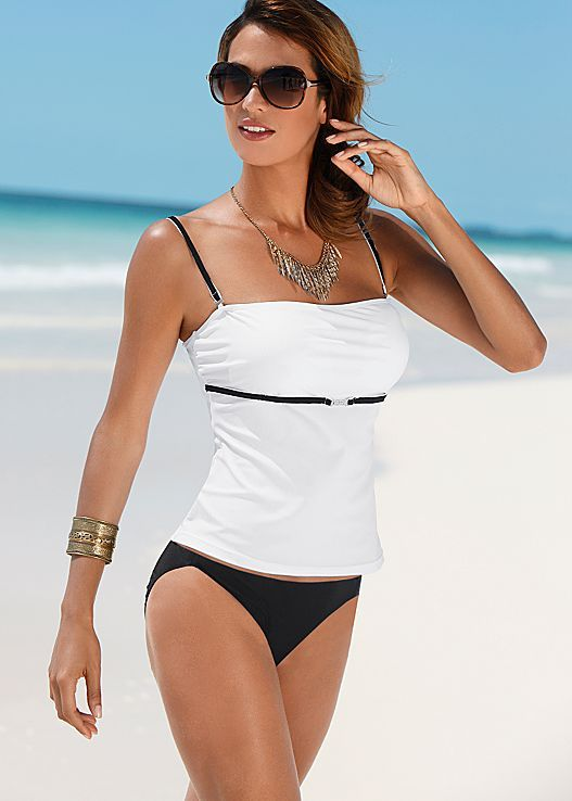 Classy black and white. Venus swim suit. TANKINI TOP, LOW RISE MODERATE BIKINI, SCOOP FRONT MODERATE BIKINI