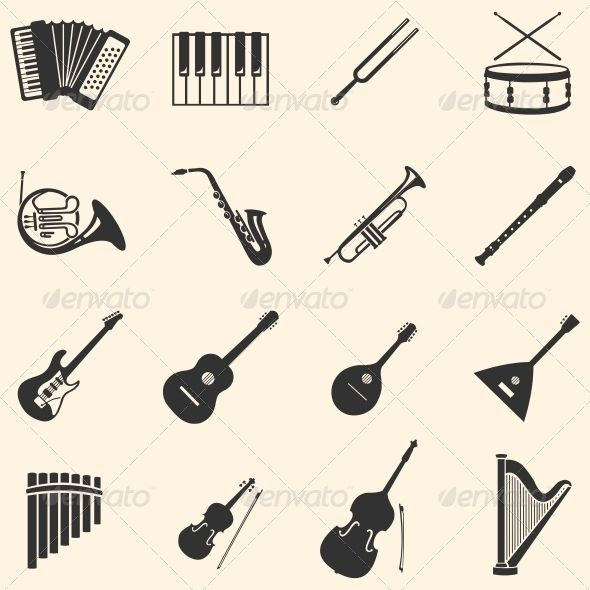 Vector Set of 16 Musical Instruments Icons | GraphicRiver