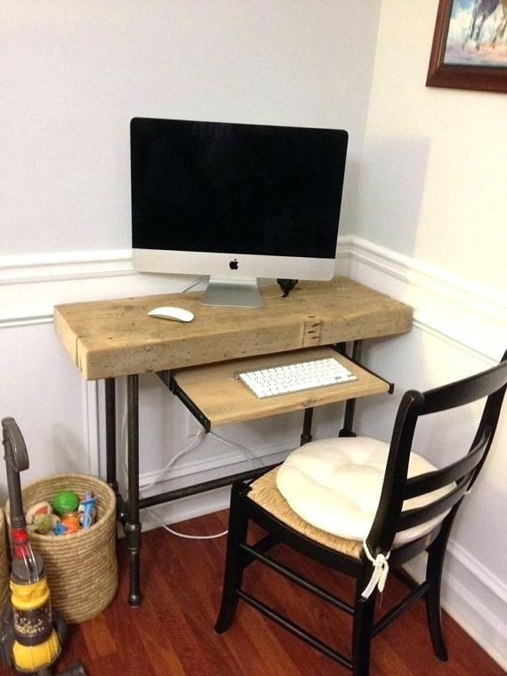 Very small 3 foot computer table between coat closet and ...