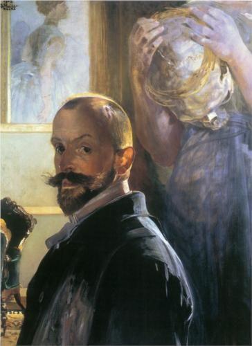 Self-portrait with skull - Jacek Malczewski
