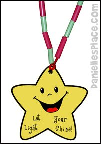 """""""Let Your Light Shine! Star Necklace Bible Craft from www.daniellesplace.com"""