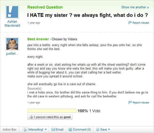 Man Cave Yahoo Answers : Family advice on yahoo answers sarah lafley you were