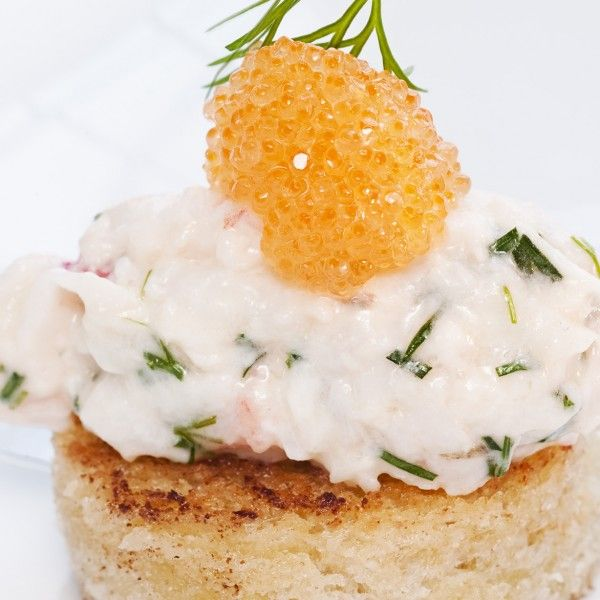 Toast Skagen is an elegant combination of prawns and other ingredients on a small piece of sautéed bread. When you really want to celebrate something, be extravagantly generous with the whitefish roe.