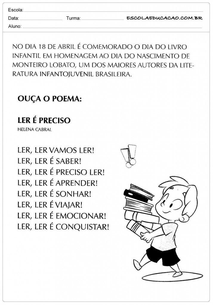 Atividades Dia do Livro Infantil - Ouça o Poema