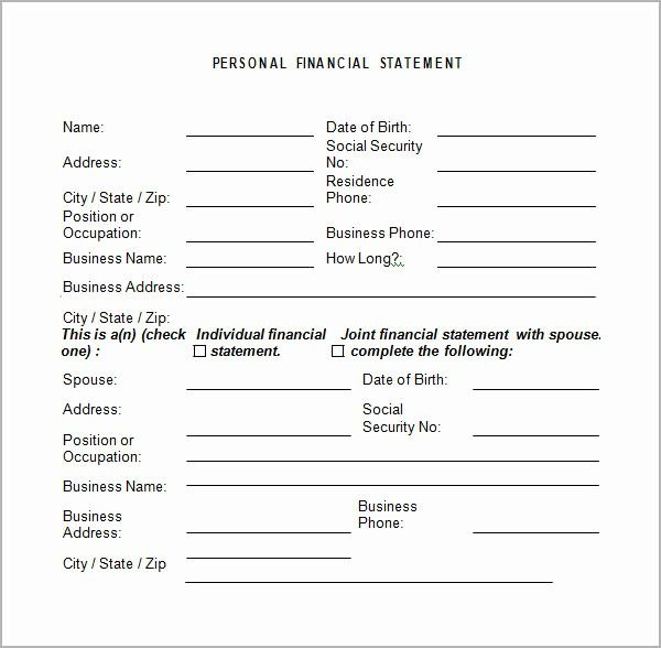 50 Beautiful Template For Personal Financial Statement In 2020