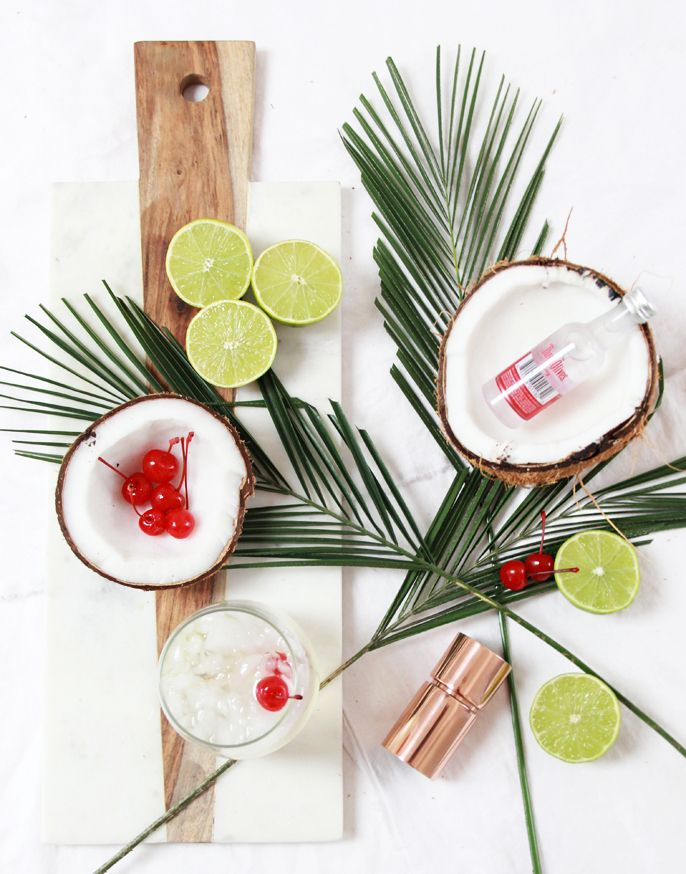 Coconut Lime Cherry Vodka Cocktail Recipe #anthrofave marble board
