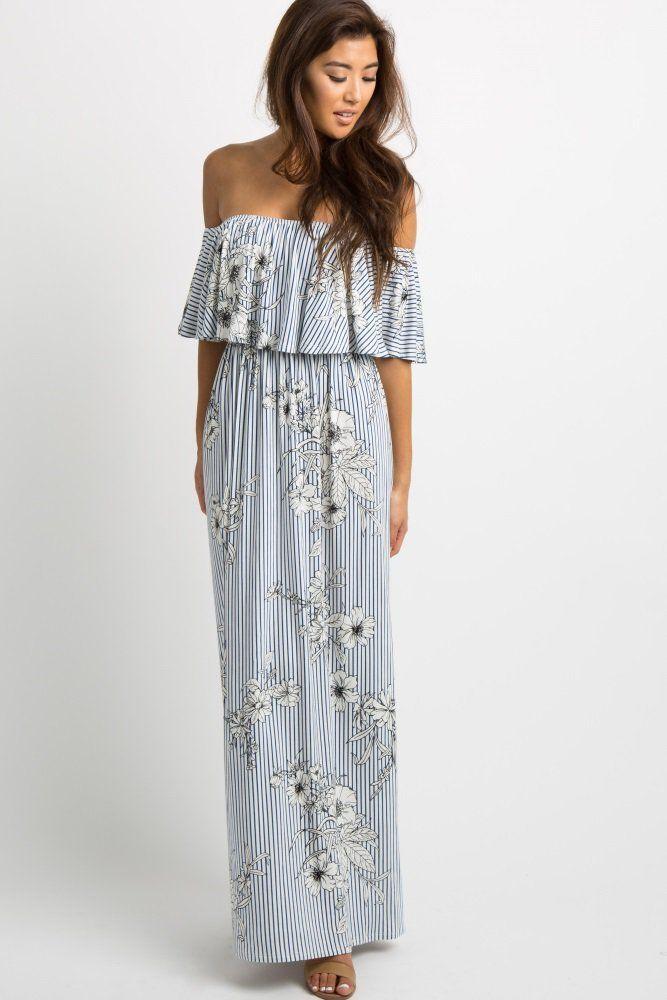 bb57c5e77d77e Navy Striped Floral Print Ruffle Off Shoulder Maxi Dress An off shoulder  maxi dress featuring a