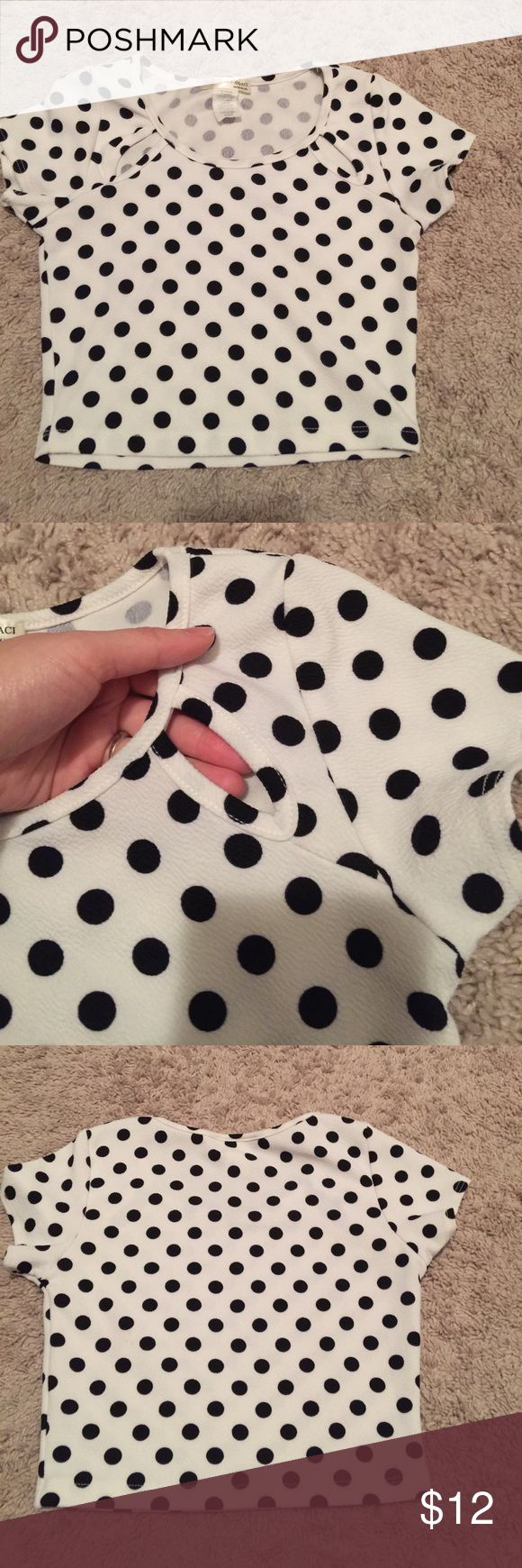 black and white polkas dot crop top wore couple times. in great condition a'gaci Tops Crop Tops