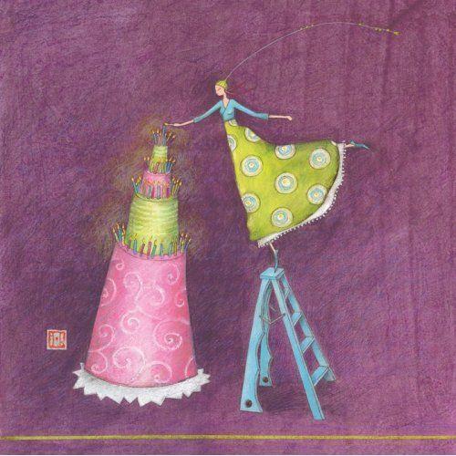 "Gaëlle Boissonnard square card 14 x 14 cm ""Le grand gâteau"""
