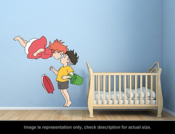 Ponyo Inspired Ponyo and Sosuke Kiss Wall Art Applique por carl895