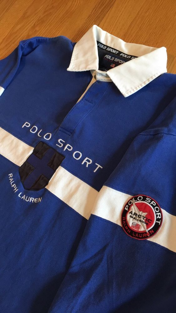 Vintage Polo Sport Ralph Lauren Arctic Challenge USA Rugby Shirt XL #PoloSport #PoloRugby