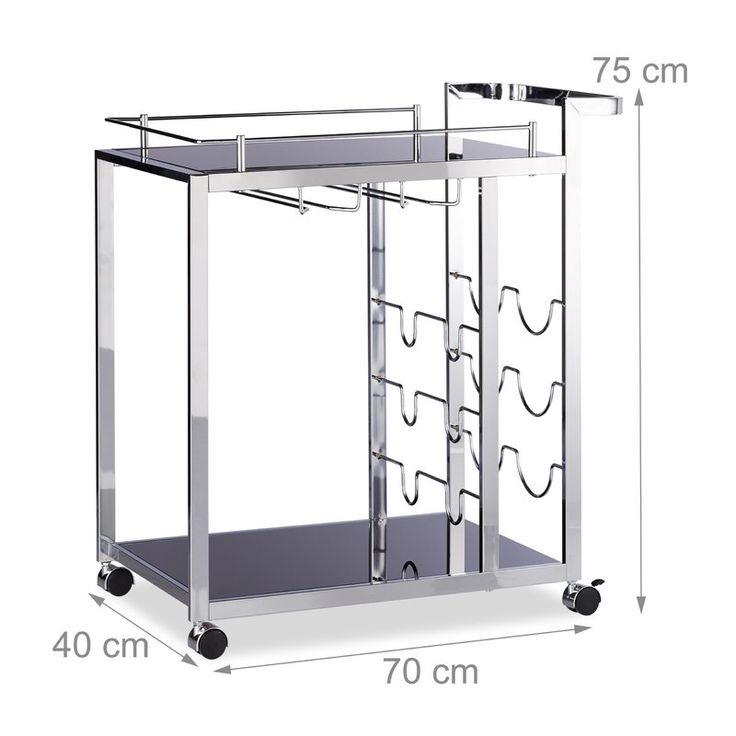 This serving trolley combines functionality with a modern and elegant design. The kitchen island with glass, shelves allows you to luxuriously transport dishes, glasses, meals or place settings. The mobile side table features 4 wheels that are silent and completely rotatable. The tea cart features an additional wine rack that holds up to 6 bottles. These are held in a downward position so the corks stay moist and prevents the bottles from falling out.