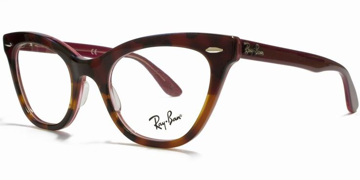 Ray-Ban Clear Lens Cateye Wayfarer Glasses Red Gradient Light Havana