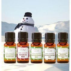5 huiles essentielles très utiles en hiver en cas de rhume, grippe, nez bouché, nez qui coule, virus hivernaux, coup de fatigue, sinusite...