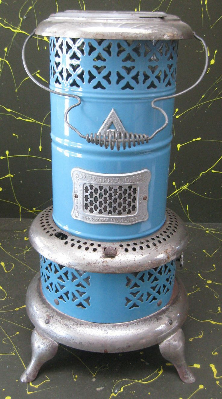 Vintage Perfection Smokeless Oil Heater No 630 Blue Porcelain Burns Kerosene   eBay