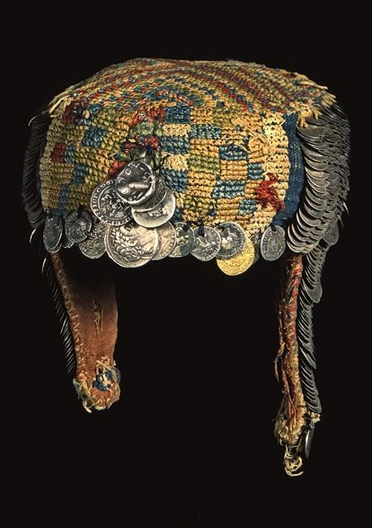 Bride's money hat from Palestine.  Late-Ottoman era, early 20th century.