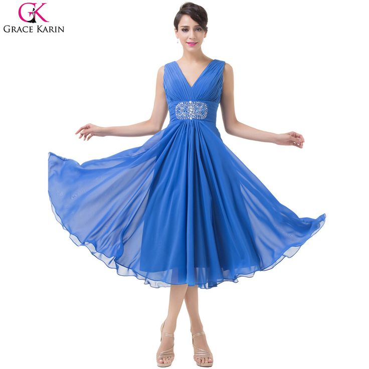 V Neck Royal Blue Prom Dresses 2017 Grace Karin Cheap Rhinestone Pleats Long Special Occasion Dress Wedding Party Dinner Gowns