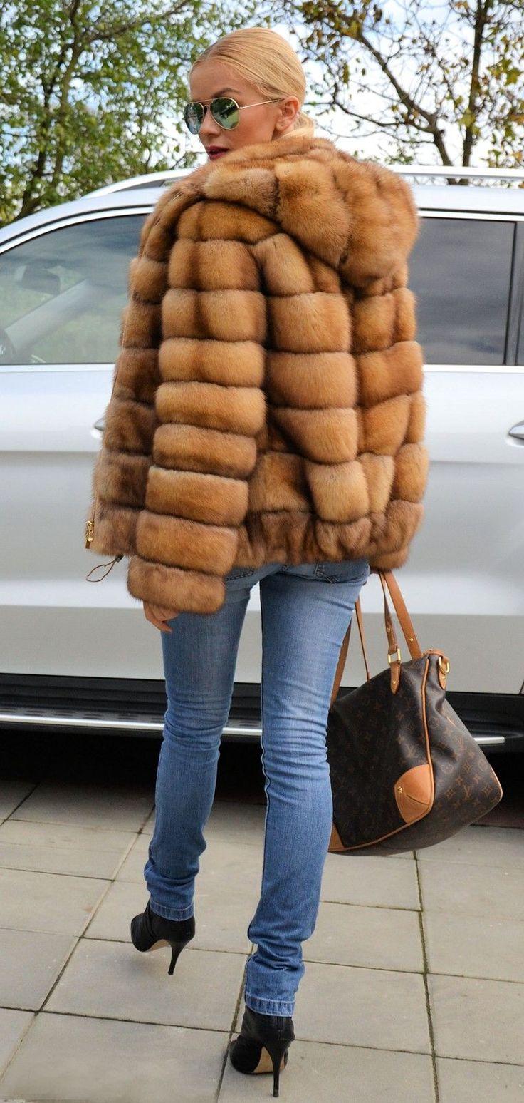 Natural Gold Sable Fur Jacket Hood