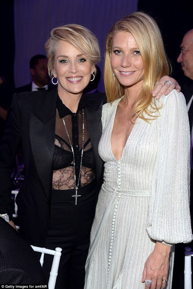 Feud over: The actress posed with Sharon Stone, 57, who was once her nemesis. Gwyneth made...