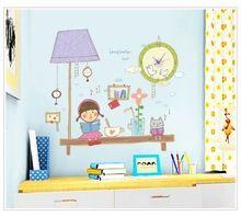 Creativo fai da te adesivi orologio da parete in stile grande formato cartone animato ragazza carina design per la decorazione domestica(China (Mainland))