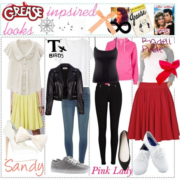 Sandy - this one is inspired by the outfit Sandy wears on her first day at Rydell during Summer Nights. White blouse, yellow skirt, white pumps, lace bow.  T-Bi...