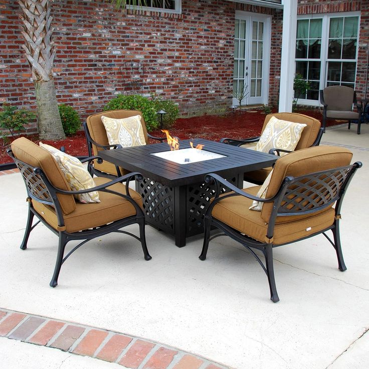 Heritage 5 Piece Cast Aluminum Patio Seating Set With Fire Pit By Lakeview  Outdoor Designs   Canvas Teak