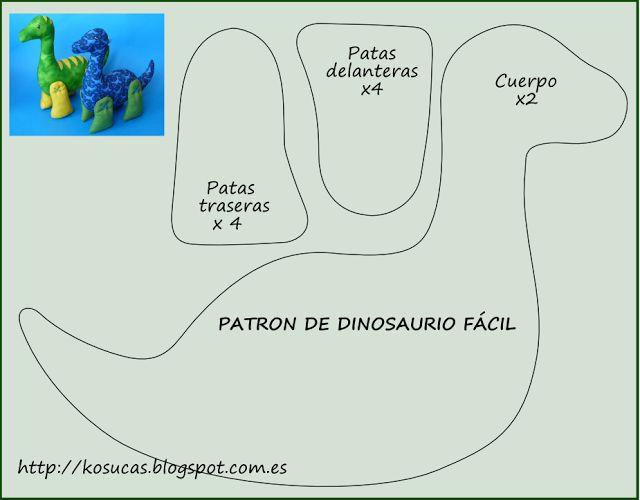 Patrón de dinosaurio fácil para bebe.  Easy pattern dinosaur.