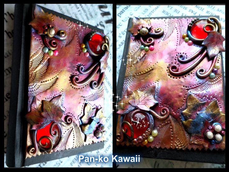 Mini diary (12x8 cm) handmade with polymercaly. Mini diario lavorato con pasta polimierca
