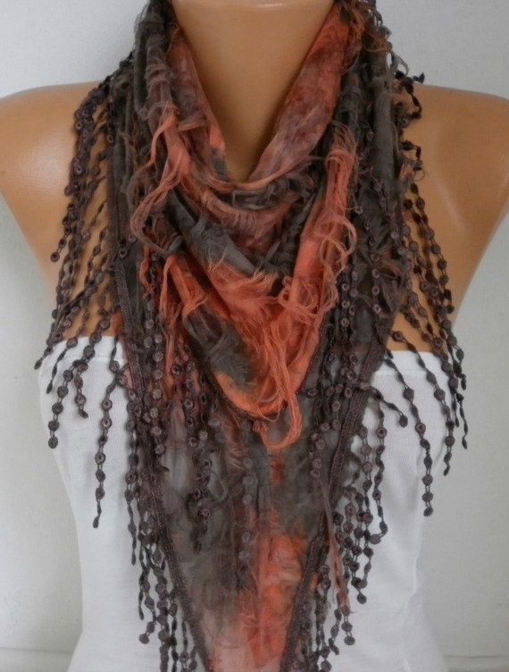 Brown & Orange Butterfly Scarf #spring #scarf by fatwoman
