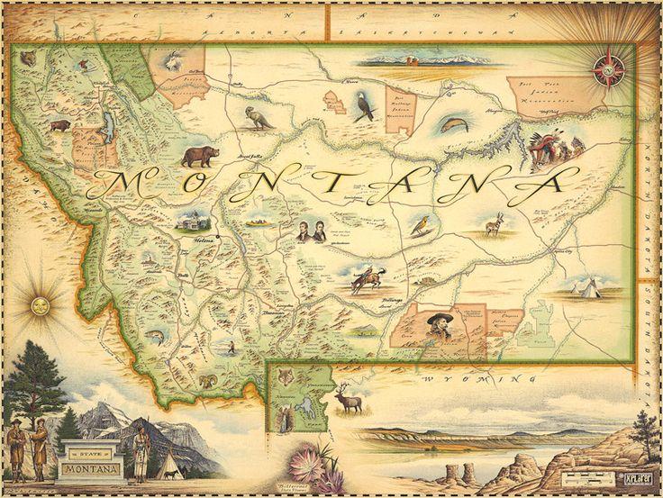 HandDrawn Map Of Montana Distinctly Montana Dave Pinterest - Map of montana