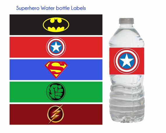 Superhero Water Bottle Labels Superhero por DreamyPartyPrintable