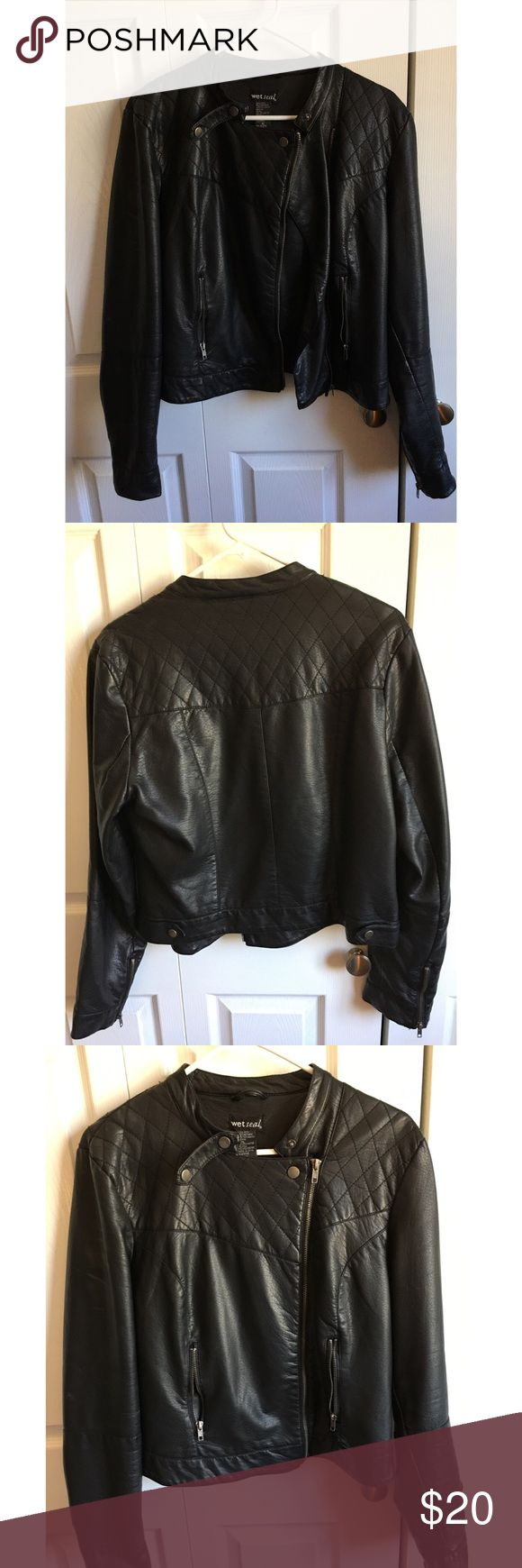 Black Faux Leather Jacket Wet Seal size XL faux leather jacket with quilting detail Wet Seal Jackets & Coats