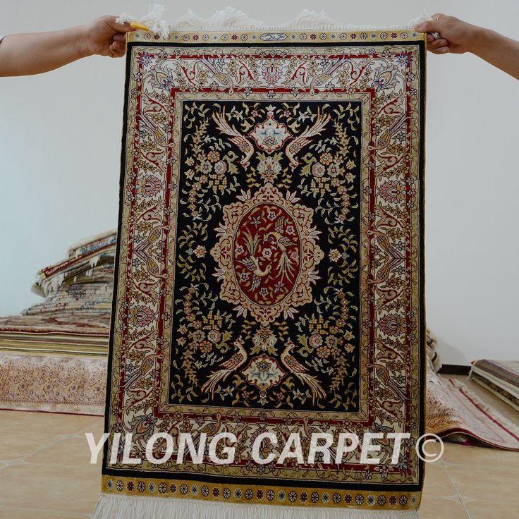 Yilong 2'x3' Turkish silk carpet floral ha…