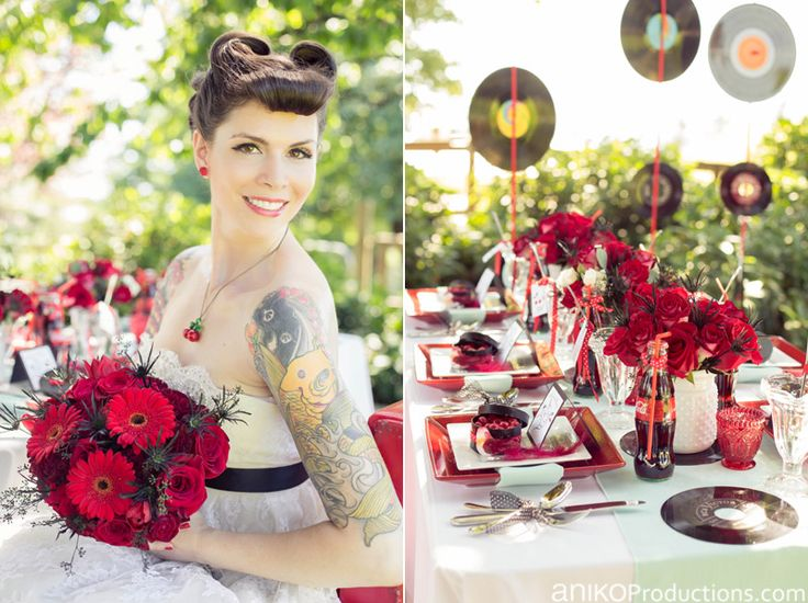 "The inspiration for ""Rockabilly Twist"" came from a tablescape Jackie of Cloud Nine Events & Accessories designed for a Portland bridal show. The goal was to create a colorful 1950's take on the Rockabilly style. One of the things teenagers did to rebel back in the day was hold secret dances in the…"