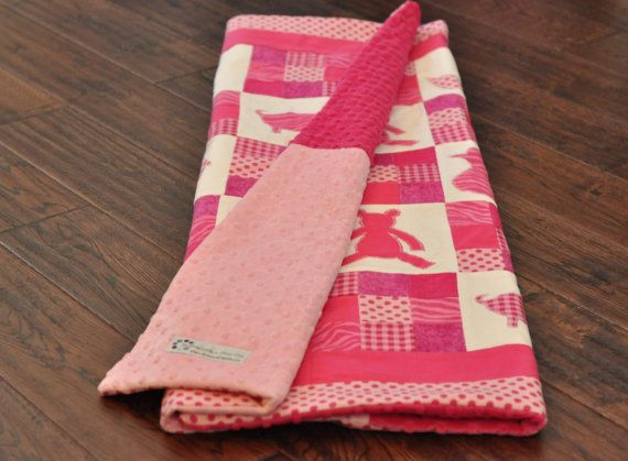 Hot pink / fuchsia baby girl quilt. Animal applique and patchwork blocks. Modern and classic. Flannel and minky fabric.