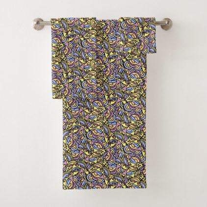 Colorful Abstract Pattern Bath Towel Set - pattern sample design template diy cyo customize
