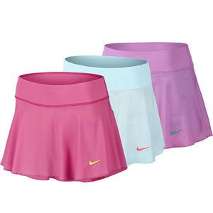 """Look fun and flirty in the�Nike�Women's Premier Tennis Skirt featuring stretched�Dri-FIT�fabric guaranteed to make you feel dry even during long matches. Breathe easily as you move in this flattering skirt with an inner mesh waistband and built-in compression shorts that are ultra comfortable. Shorts are extended to increase secure ball storage.Technical Benefits:�Dri-FIT�Fabric: 84% Polyester / 16% Spandex TaffetaLength: 11 3/4""""For information regarding sizes, please refer to our�sizing…"""