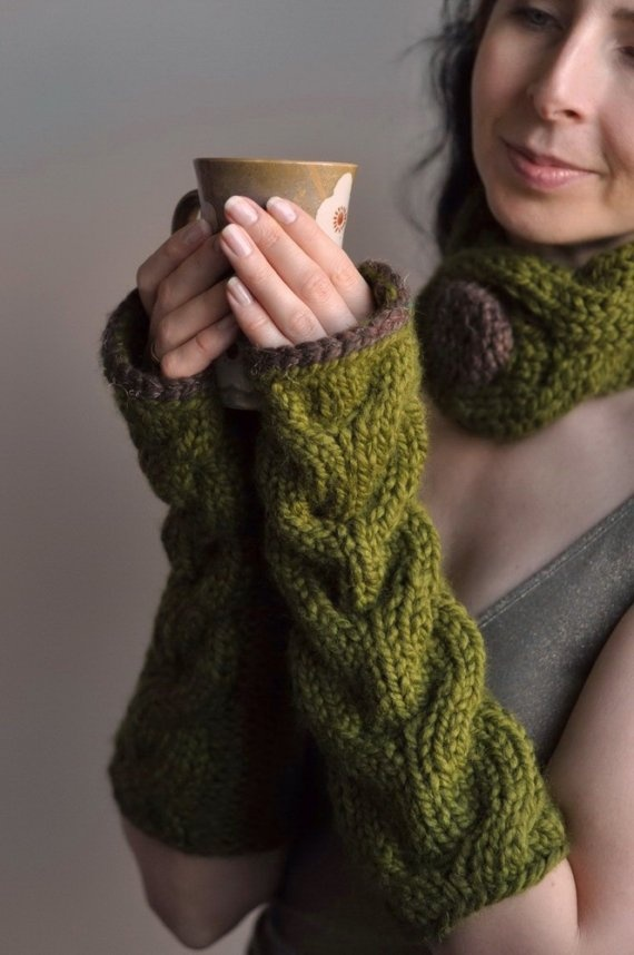 Freezebaby Mittens - super chunky handknit extra long cabled fingerless gloves in olive green MADE TO ORDER in other colors - Gift under 50. $45.00, via Etsy.
