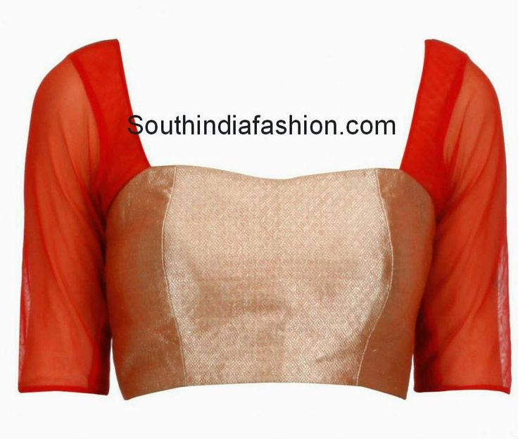 Simple yet stylish red and gold brocade blouse with transparent elbow length sleeves, deep back neck with tassels on the back and a side closure zip. Related PostsQuarter Sleeves Black Brocade BlouseStylish Khadi BlouseMulticolor Brocade BlouseStylish Elbow Length Sleeves Blouses